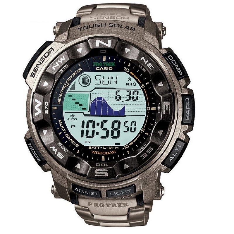 卡西欧Casio Protrek系列 PRW2500T-7 3感应器/6局电波 钛合金户外登山表