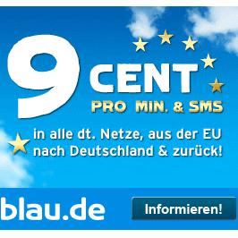 Blau手机卡 拨打欧盟国家每分钟仅9cent