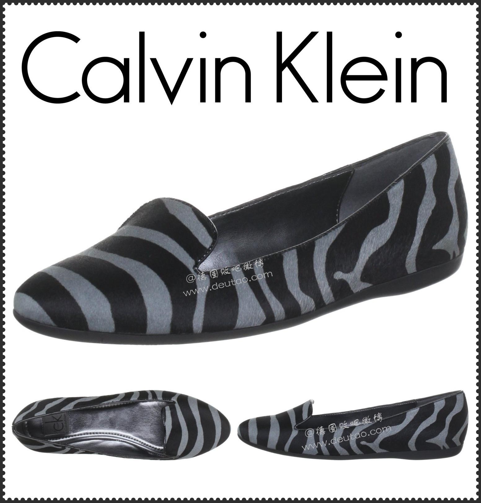 CK 深色斑马条纹平底女鞋