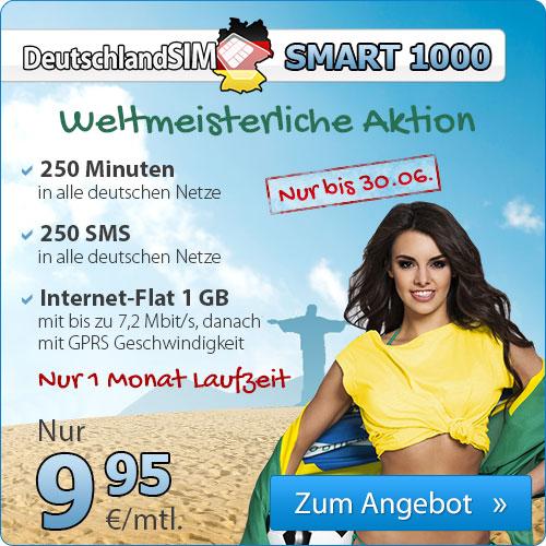 DeutschlandSIM手机卡1GB流量/250分钟通话/250短信
