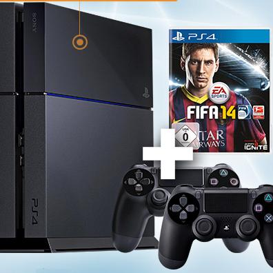 SONY索尼PS4+FIFA14游戏+2个DUALSHOCK游戏手柄