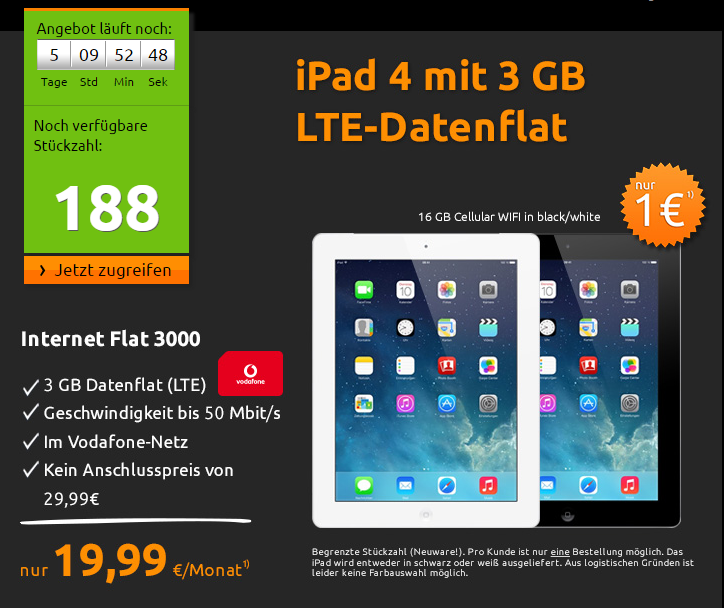 苹果iPad 4 16GB Cellular+每月3GB流量