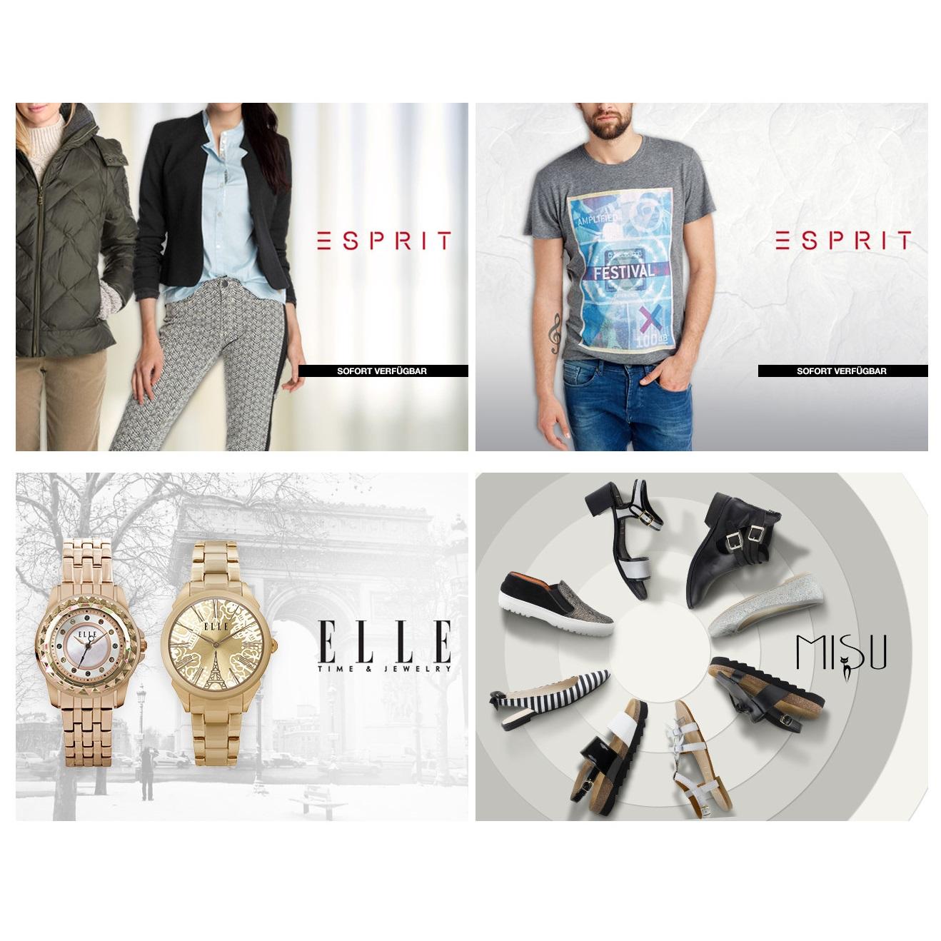 Esprit男女服饰及童装/Misu女鞋/Elle男女腕表