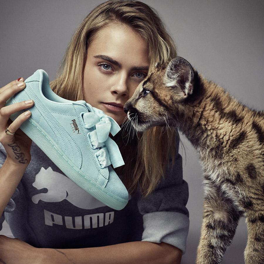 CARA DELEVINGNE X Puma Suede Heart 联名系列鞋款