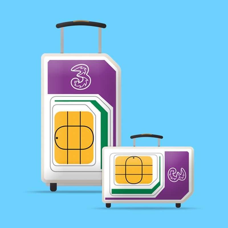 世界42个国家及地区通用 – 3 PAYG 4G Trio 预付费流量卡
