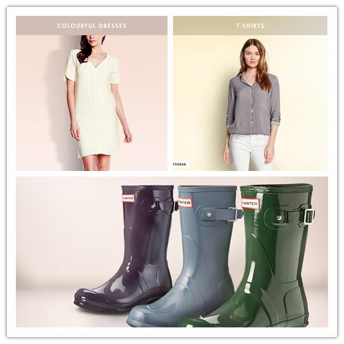 雨季也时尚的 Hunter雨靴/多品牌T-SHIRTS男女T恤特卖/ COLOURFUL DRESSES多彩连衣裙专场