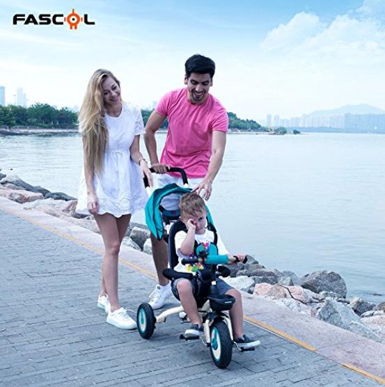 Fascol儿童三轮自行车 4合1模式,从6个月骑到5岁!两色选