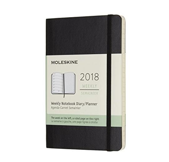 半折! Moleskine 2018一周计划本(黑色)