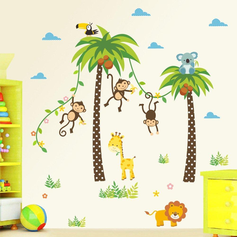 童心装饰 可揭儿童房动物墙上贴纸