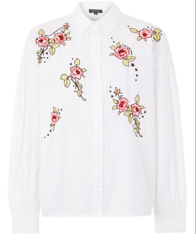 TopShop 玫瑰刺绣白色衬衫