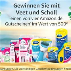 购买任意 Veet 或 Scholl 产品即可参加抽奖!