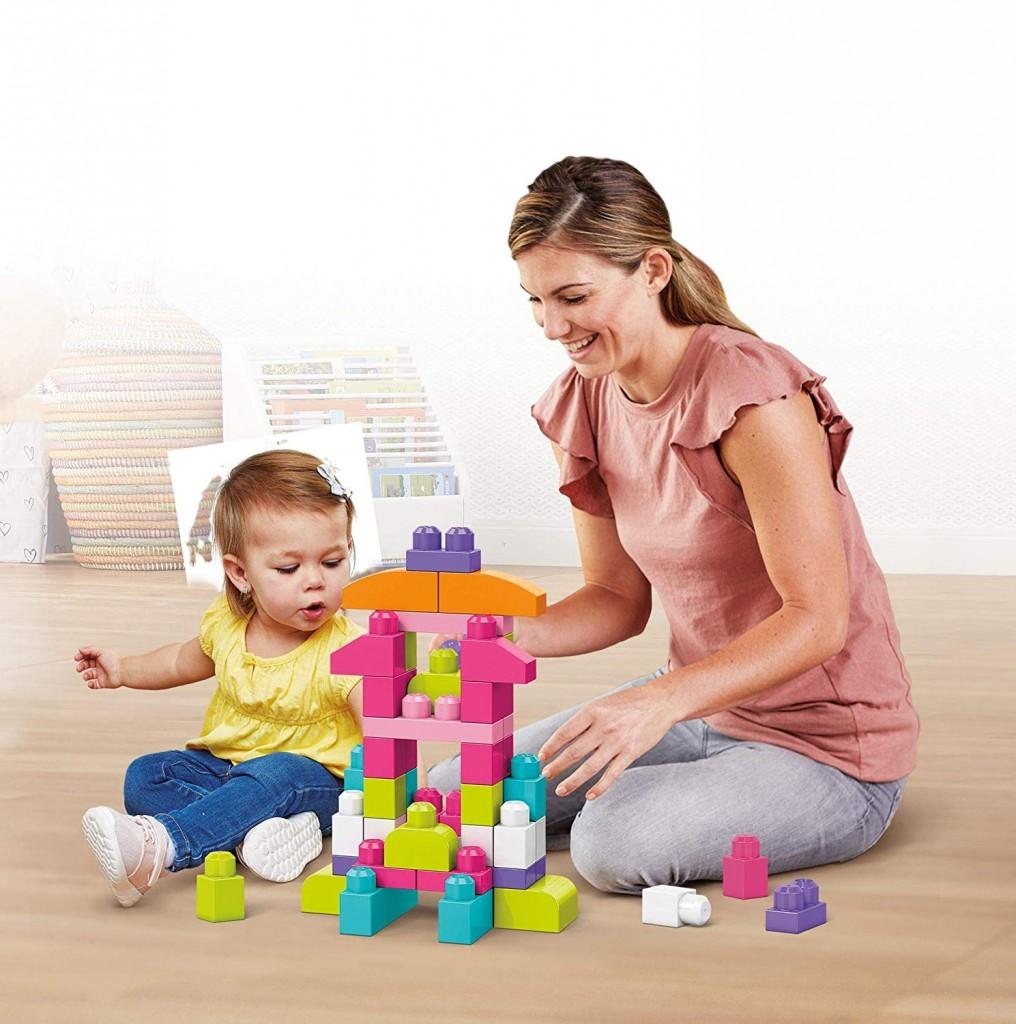 美高 MEGA BLOKS 益智积木玩具 大袋装60片 粉色