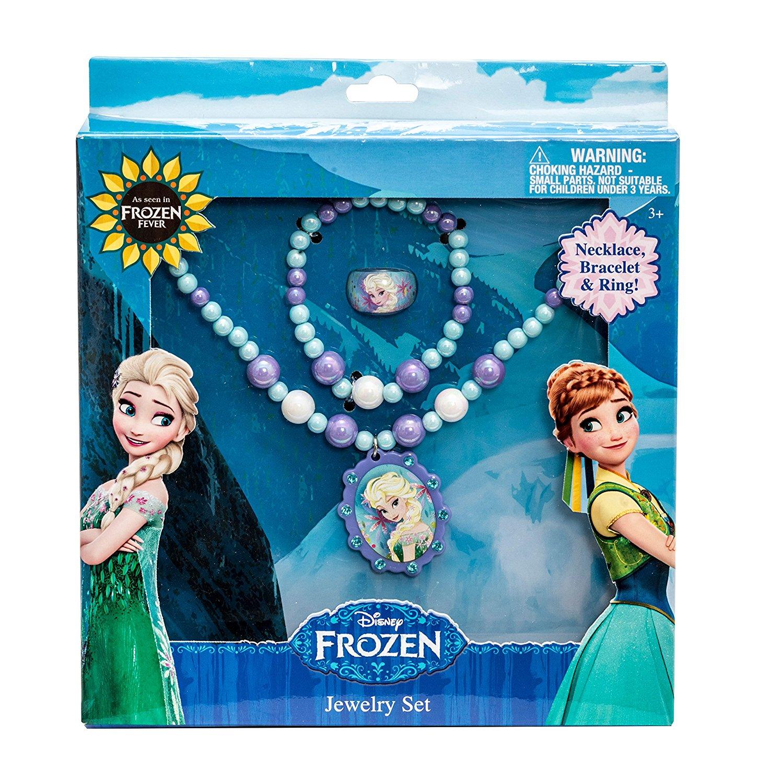 Disney 755782 冰雪奇缘 艾莎图案的项链手链戒指套装