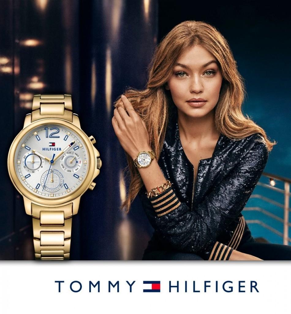 Tommy Hilfiger 时尚金色三眼钢带石英表女表