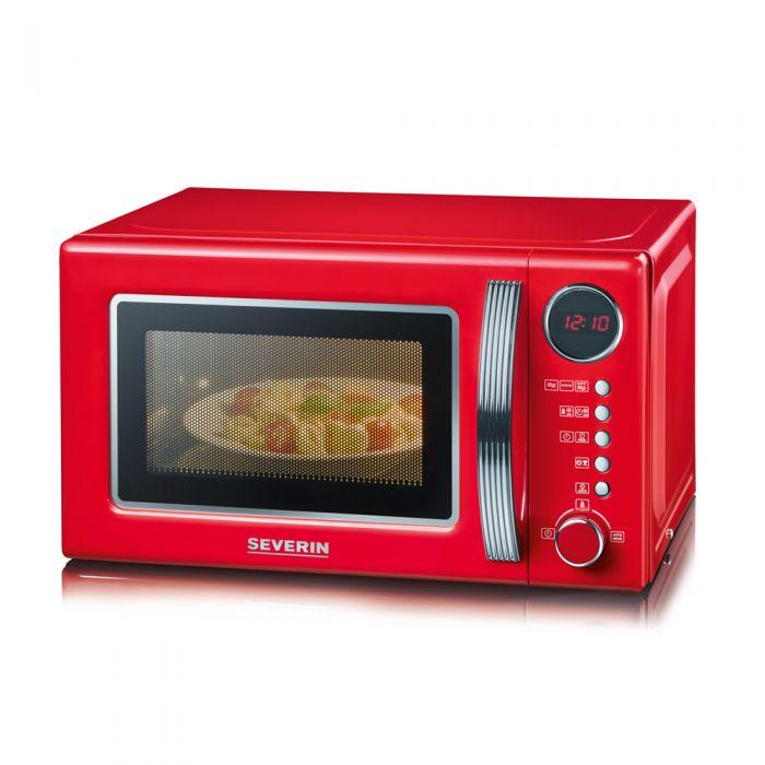 德国品质  Severin 2合1带烧烤 功能微波炉 复古红