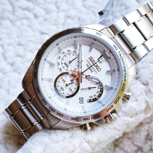 日本著名制表品牌  Seiko男士不锈钢计时腕表