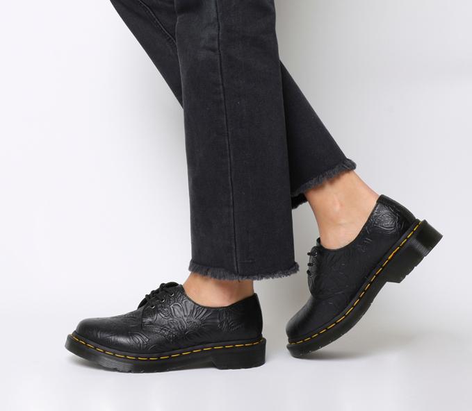 经典永不过时 Dr. Martens 1461 FLORAL EMBOSS 经典3孔马丁靴