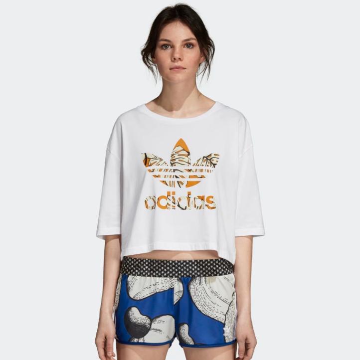 Adidas CROP-TOP 阿迪达斯三叶草女式短款上衣