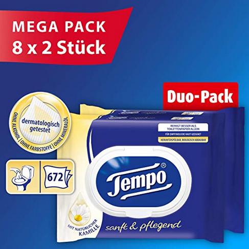 得宝(Tempo) 敏感性肌肤适用 湿厕纸 42片*16袋装