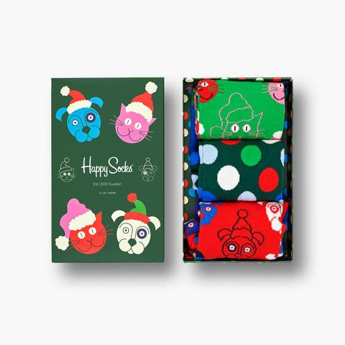 Happy Socks Santa Animals圣诞动物袜礼盒3双装