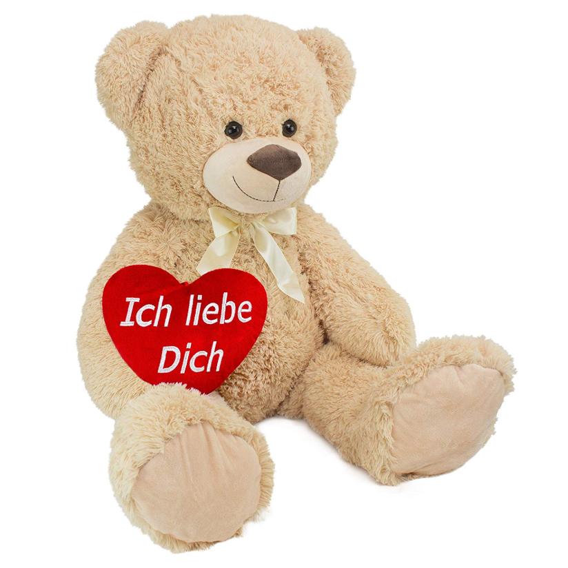 用超大泰迪熊来表达爱意吧!BRUBAKER 一米高泰迪熊带心形抱枕