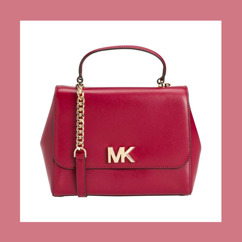 传递优雅自信的时尚态度 MICHAEL KORS 酒红色手提斜挎包