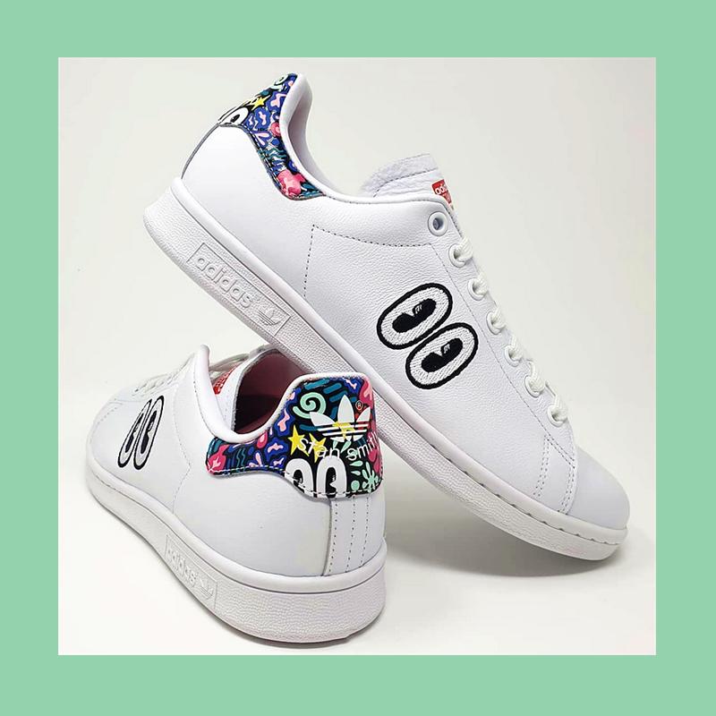 当鬼马精灵遇到经典小白鞋!Adidas Originals x Hattie Stewart 联名款小白鞋