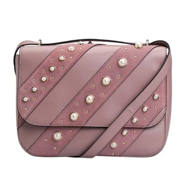 Karl Lagerfeld 藕粉色珍珠装饰气质挎包