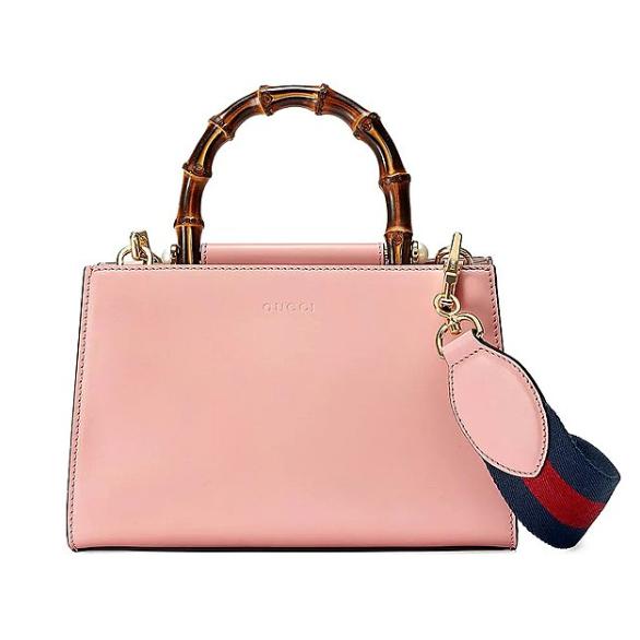 Gucci清新粉色竹节包