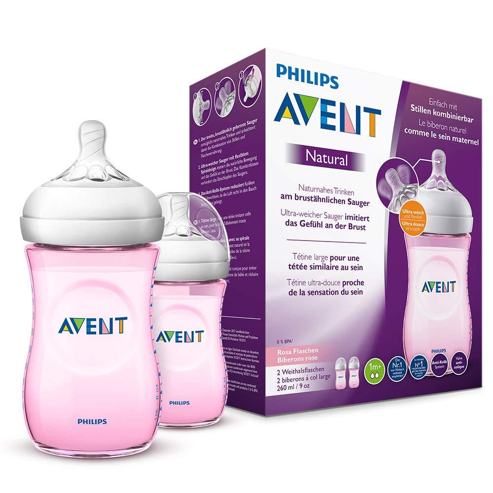 Philips Avent Natural Flasche SCF034/27 防胀气奶瓶2只装 粉色