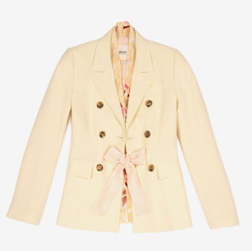 仙气爆炸的西装外套!Bally米黄色缎带蝴蝶结西装外套