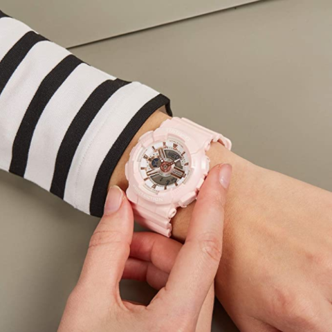 Casio卡西欧手表女BABY-G系列防水运动电子表 粉色