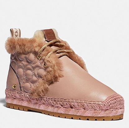 冬季保暖好物!COACH 羊毛+羊皮短靴!