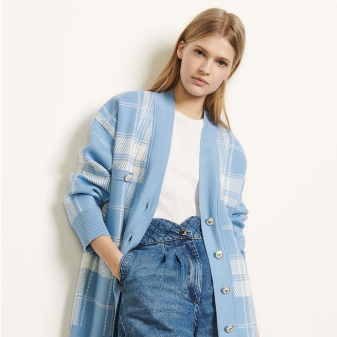 秋天和开衫就是最配的!sandro 蓝格纹小清新开衫