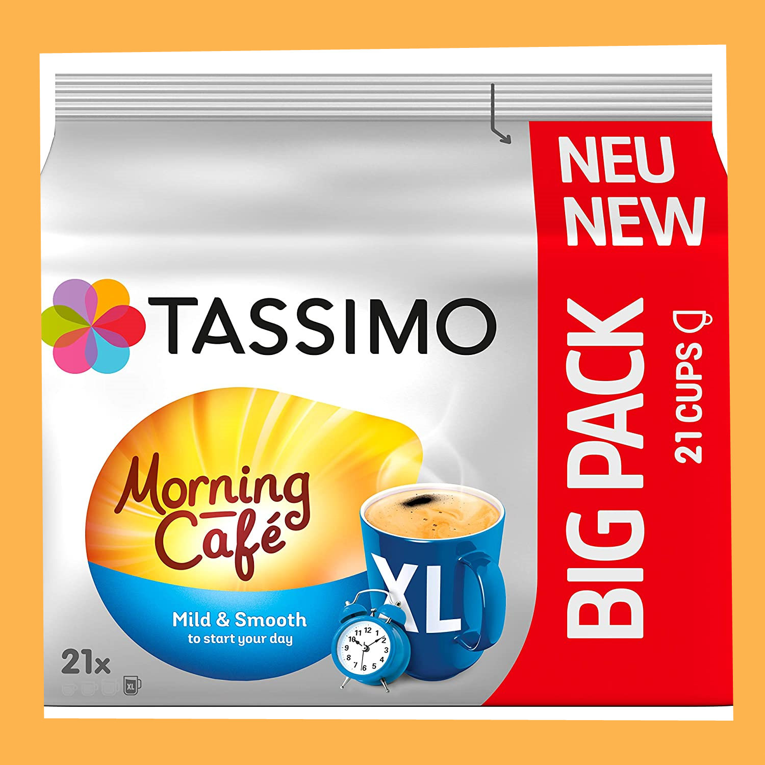 温和的morning start! Tassimo Morning Café XL Mild & Smooth 5 x 21包大包装