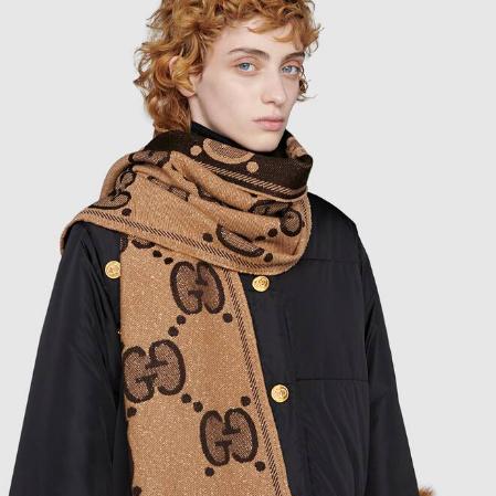 GUCCI 2020 新款金丝双G印花羊毛围巾