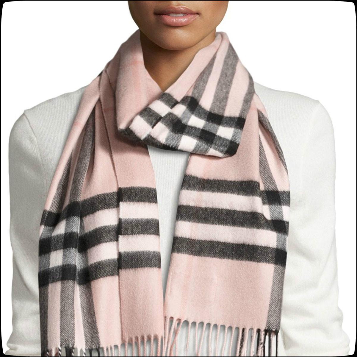 【直邮中国】这个冬天给你经典款的温暖!Buberry经典粉色格纹羊绒围巾
