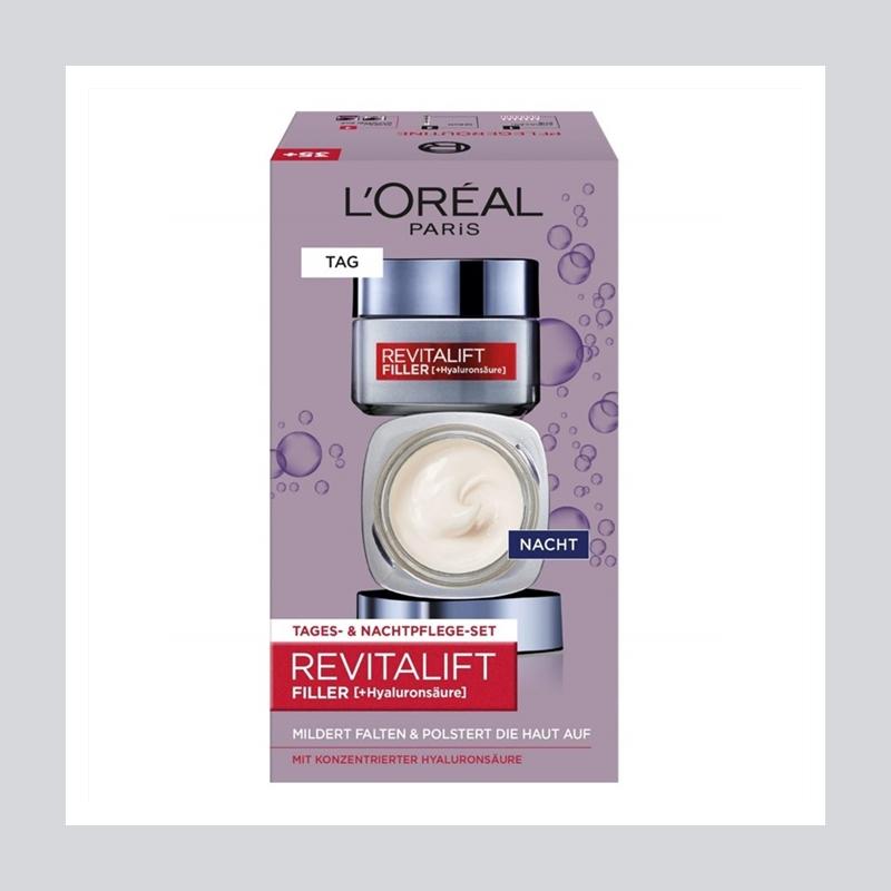 让肌肤嘭嘭嘭起来!L'Oréal 巴黎欧莱雅玻尿酸日霜晚霜套装