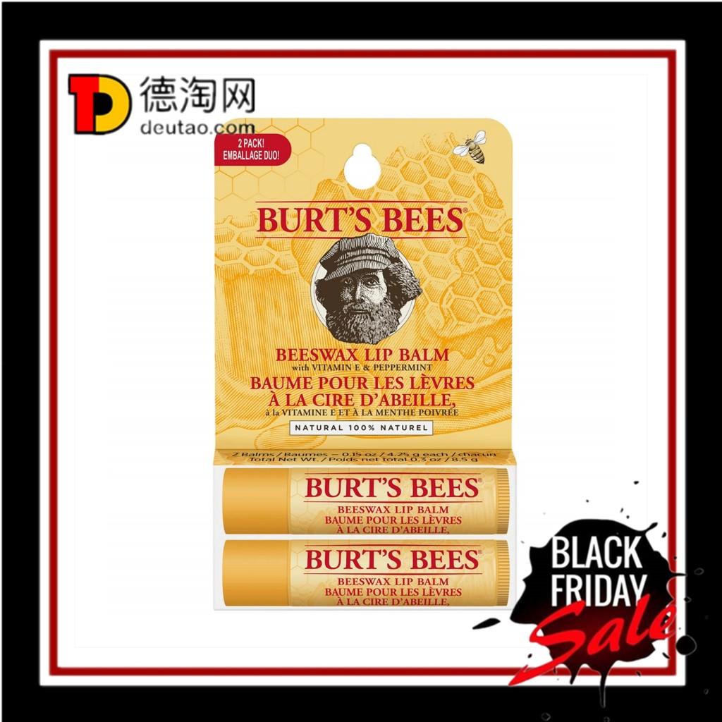 天然蜂蜡呵护你的娇嫩双唇!Burt's Bees 小蜜蜂蜂蜡润唇膏*2支装