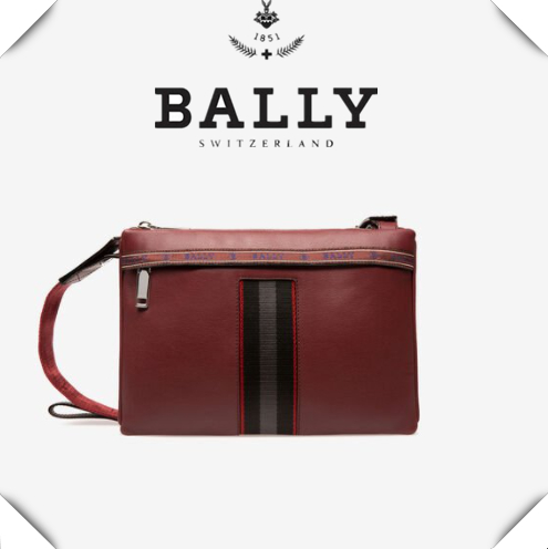 男生也需要美美的挎包!Bally酒红色牛皮单肩包
