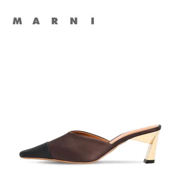 迷人的MARNI皮革金属跟穆勒鞋