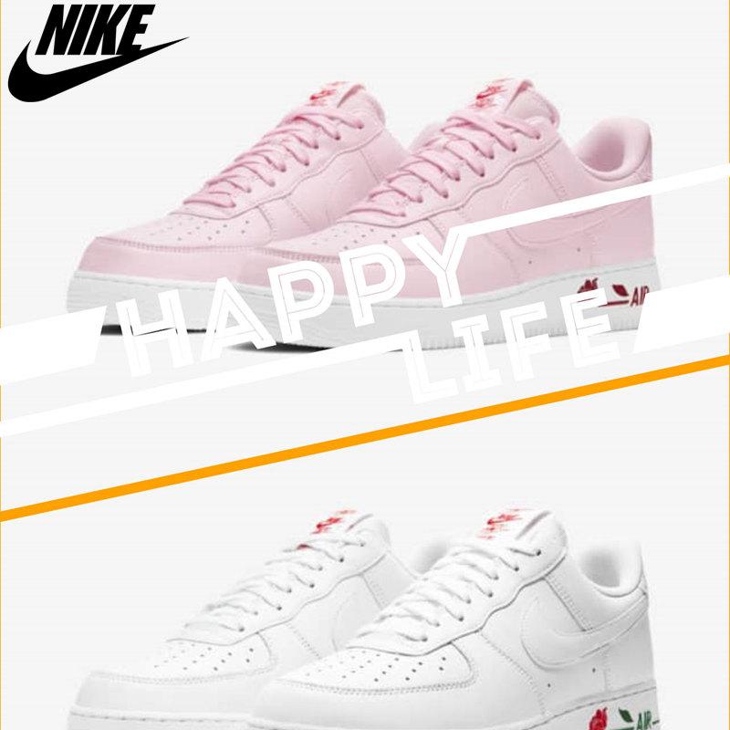 白玫瑰粉玫瑰情侣款Nike Air Force 1,这把狗粮吃到饱!