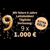 喜迎九周年!今日在Lottohelden买彩票,除了原本MiniLotto中奖可以瓜分的10万欧元奖金外,