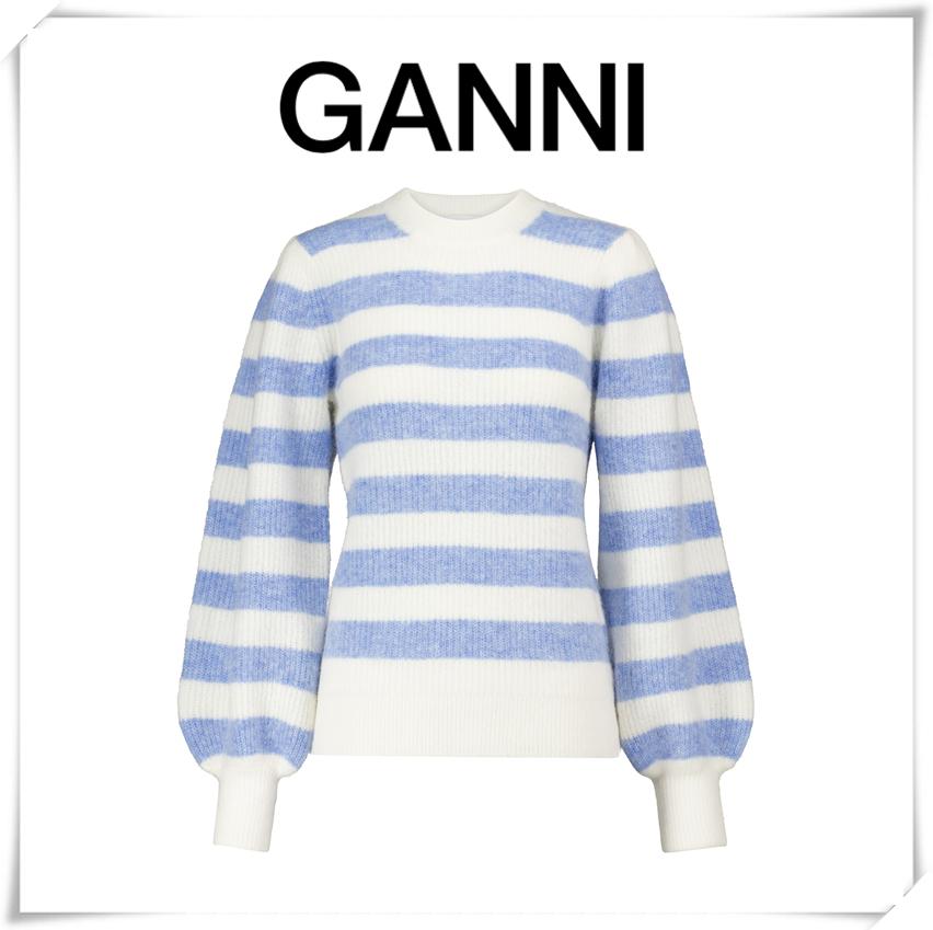 Ganni蓝白条纹清新混织毛衣~初春外穿,如海风般清新!