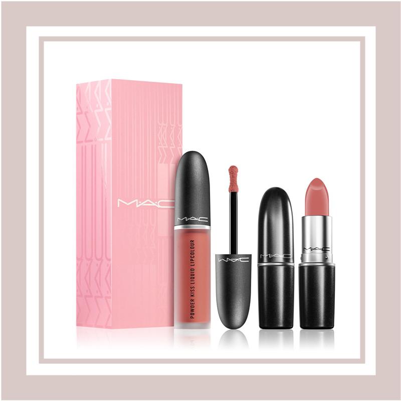 MAC Cosmetics 「丝柔粉雾唇釉/口红」套装 #Mull It Over 蜜桃焦糖