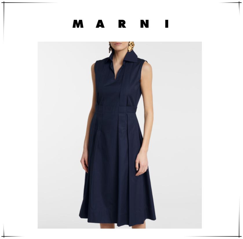 气质突出,超A连衣裙~Marni海军蓝中长连衣裙