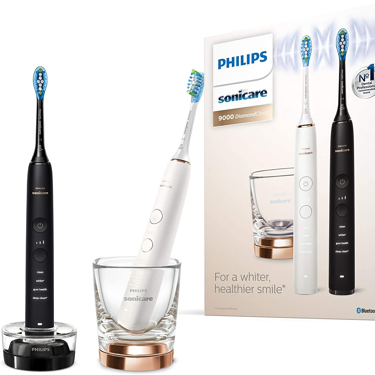 跟亲爱的ta一起呵护牙齿健康!Philips飞利浦Sonicare DiamondClean 9000电动牙刷 黑色+白色情侣款