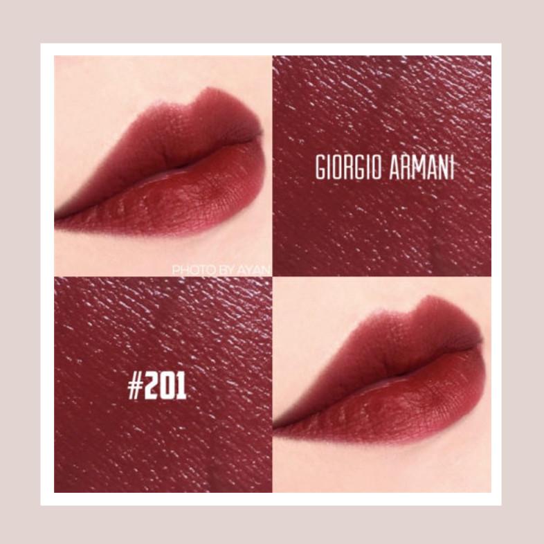 夏日法式玫瑰~ Armani Lip Maestro/阿玛尼 臻致丝绒哑光唇釉 #201 枣泥酒红