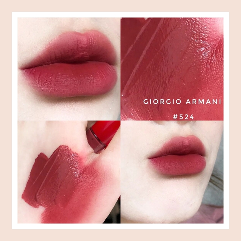 这是什么绝美干枯野玫瑰!Armani 阿玛尼丝绒哑光唇釉#524