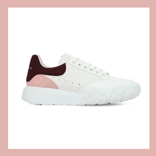 ALEXANDER MCQUEEN 45MM COURT 新款粉尾小白鞋